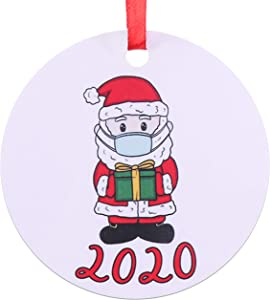 2020 Quarantine Christmas Ornaments - Santa Clause Wearing Mask Ornament - 2020 Merry Christmas Funny Gift Idea - Social Distancing Novelty Ornament