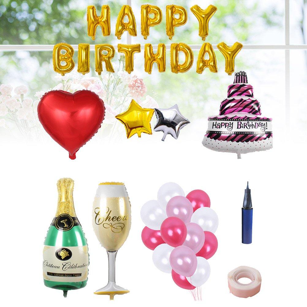 BESTOYARD Happy Birthday Cake Champagne Cup Bottle Foil Balloon Birthday Party Pack by BESTOYARD (Image #7)