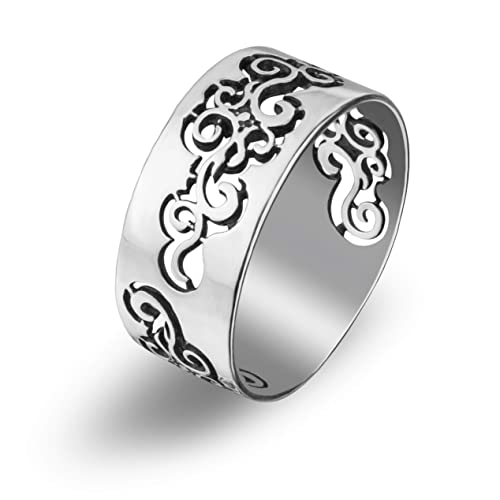 cb07f0106 Rosemaling Vintage Cutout Floral Filigree Design Sterling Silver Band Thumb  Ring Everyday Handcrafted Jewelry for women: Amazon.ca: Handmade