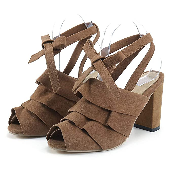 201c5a238372 Kanzd Fashion Women Ankle Strap Chunky Heel Ruffles Peep Toe Shoes Heeled  Sandals (Brown