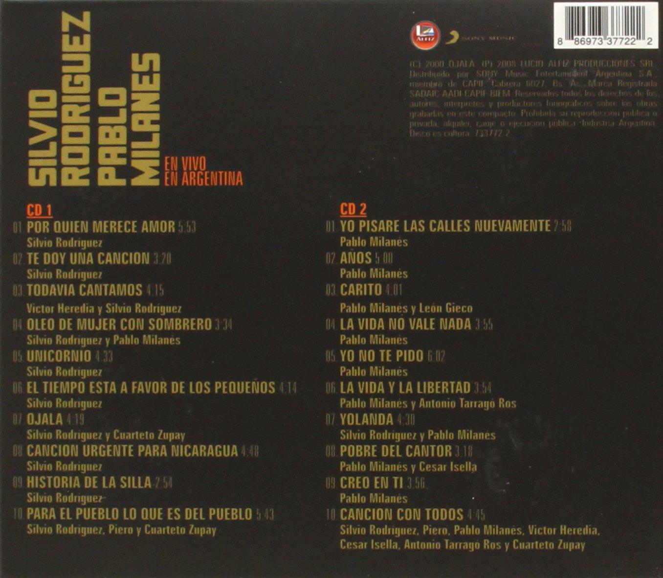 En Vivo En Argentina : Silvio Rodriguez, Pablo Milanes: Amazon.es: Música