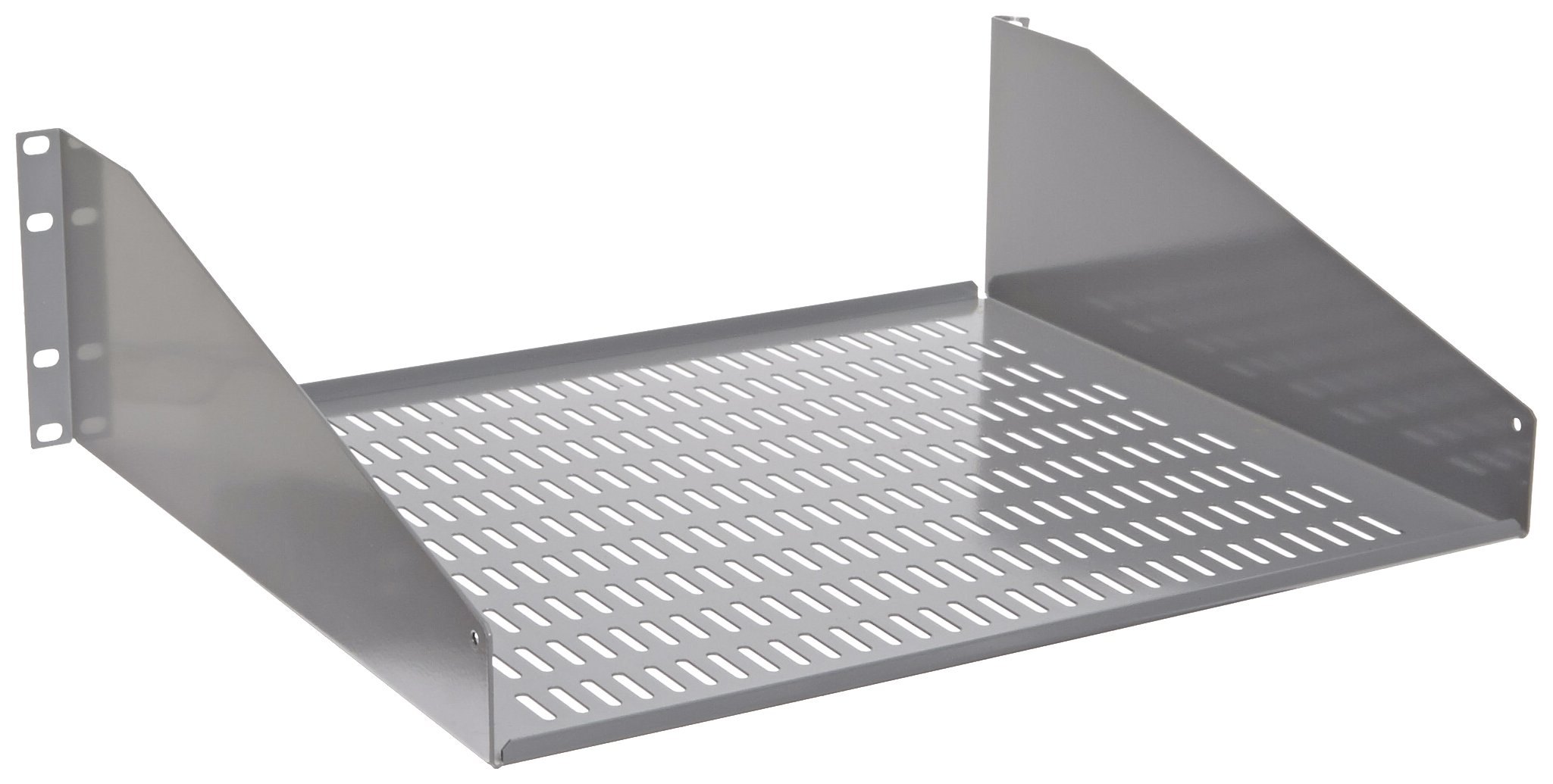 BUD Industries SA-1751-MG Steel Ventilated Open Rack Equipment Shelf, 17-39/64'' Width x 5-13/64'' Height x 15'' Depth, Metallic Gray Finish, for 19'' Panel Width Rack
