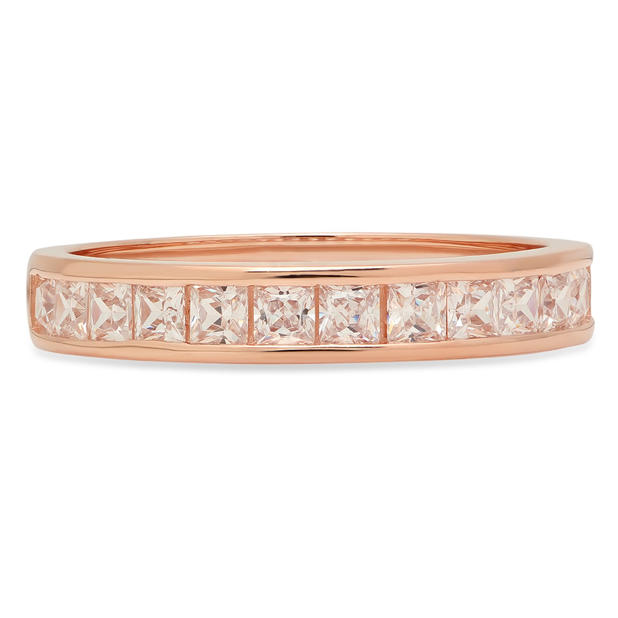 Clara Pucci 2.20 ct Brilliant Princess Cut CZ Designer Stacking Channel Setting Band in Solid 14K Rose Gold