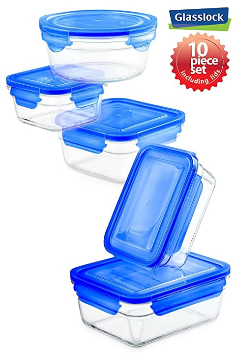 New Snaplock Lid: Tempered Glasslock Storage Containers 10pc Set With Blue  Lids~Microwave U0026
