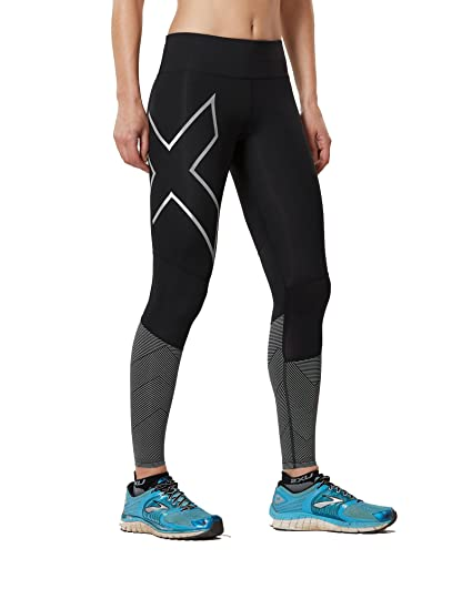 a63029b5ce8a71 2XU Womens mid-Rise Reflect Compression Tights, Black/Silver Reflective, X-