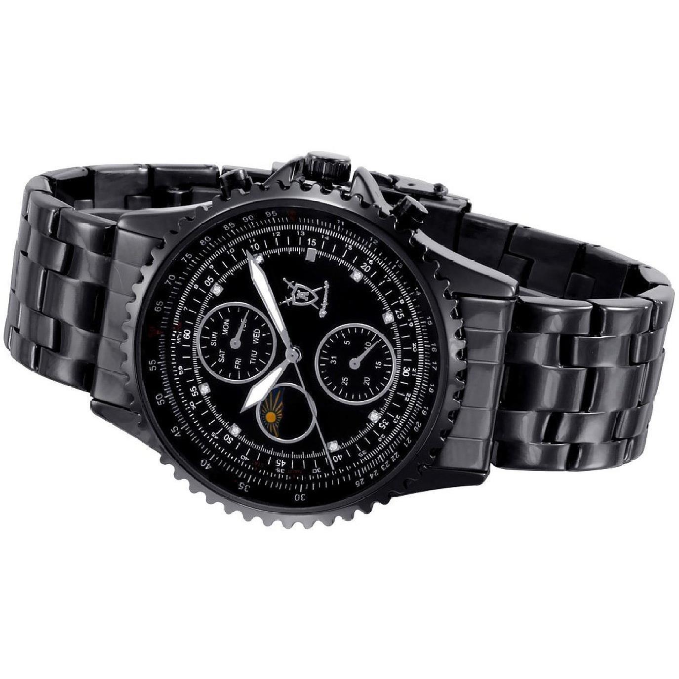 Amazon.com: Konigswerk Mens Black Stainless Steel Bracelet Watch Multifunction Crystal Markers SQ201438G: Konigswerk: Watches