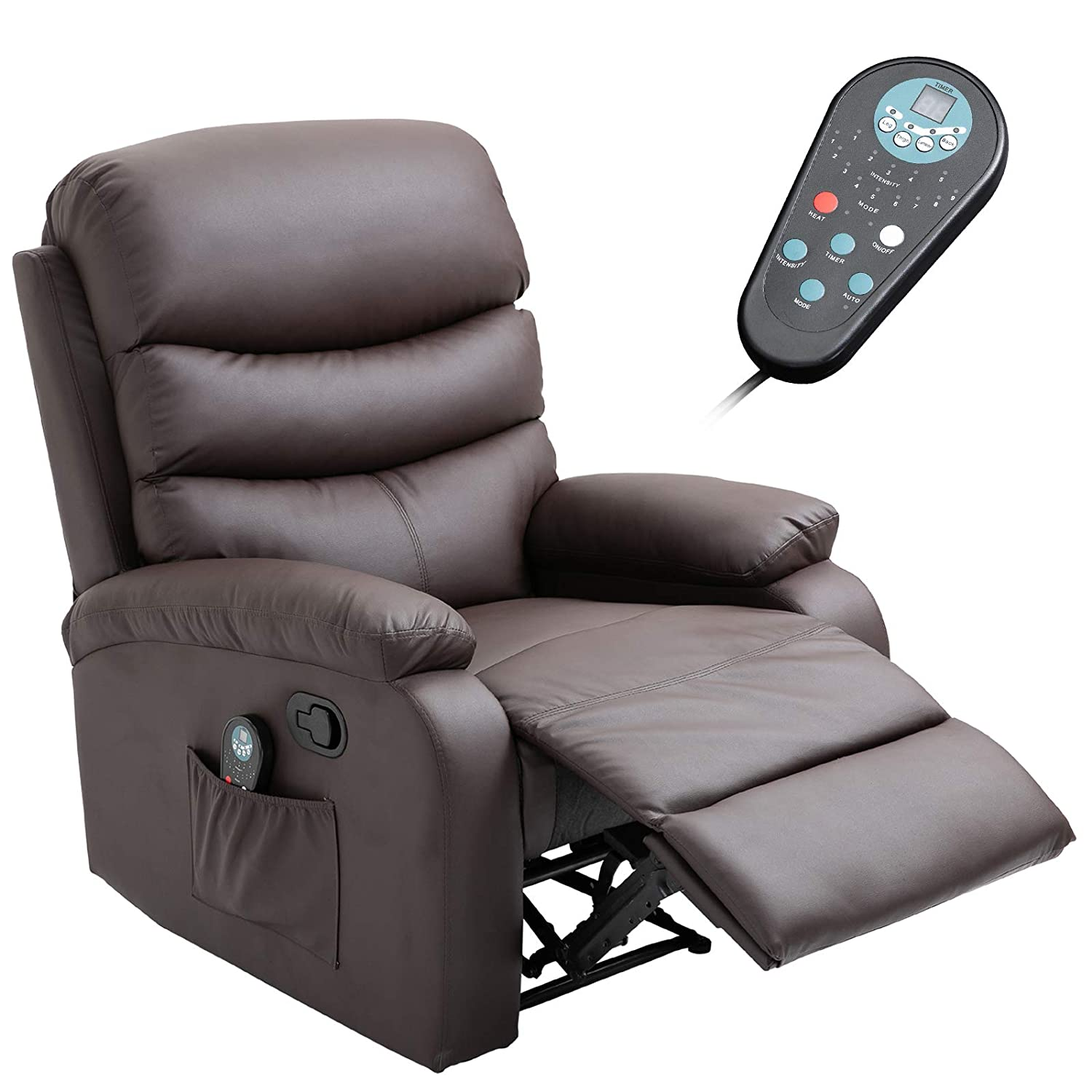HOMCOM Manual Massage Recliner Chair with Heat and Remote Control, 8 Massaging Points, PU Leather, Brown