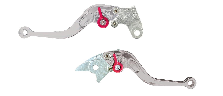 Yana Shiki LS15TSS-L//RS15TSS-R Silver Short Adjustable Standard Brake//Clutch Lever Set with Silver Knuckles for Honda CBR600RR//CBR954RR