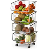 Rolling Stackable Wire Baskets, 4 Tiers Metal Utility Cart Vegetable and Fruit Basket Storage Organizer Bins for Kitchen…
