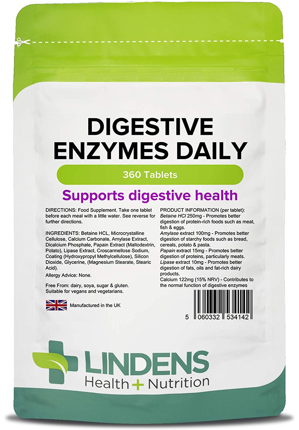 Lindens Enzimas digestivas en comprimidos diarios | 360 Paquete ...