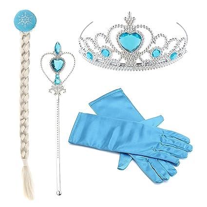 Hpwai Princess Little Girls Kids Frozen Elsa Halloween Christmas Dress Up AccessoriesCrown Braid Wand