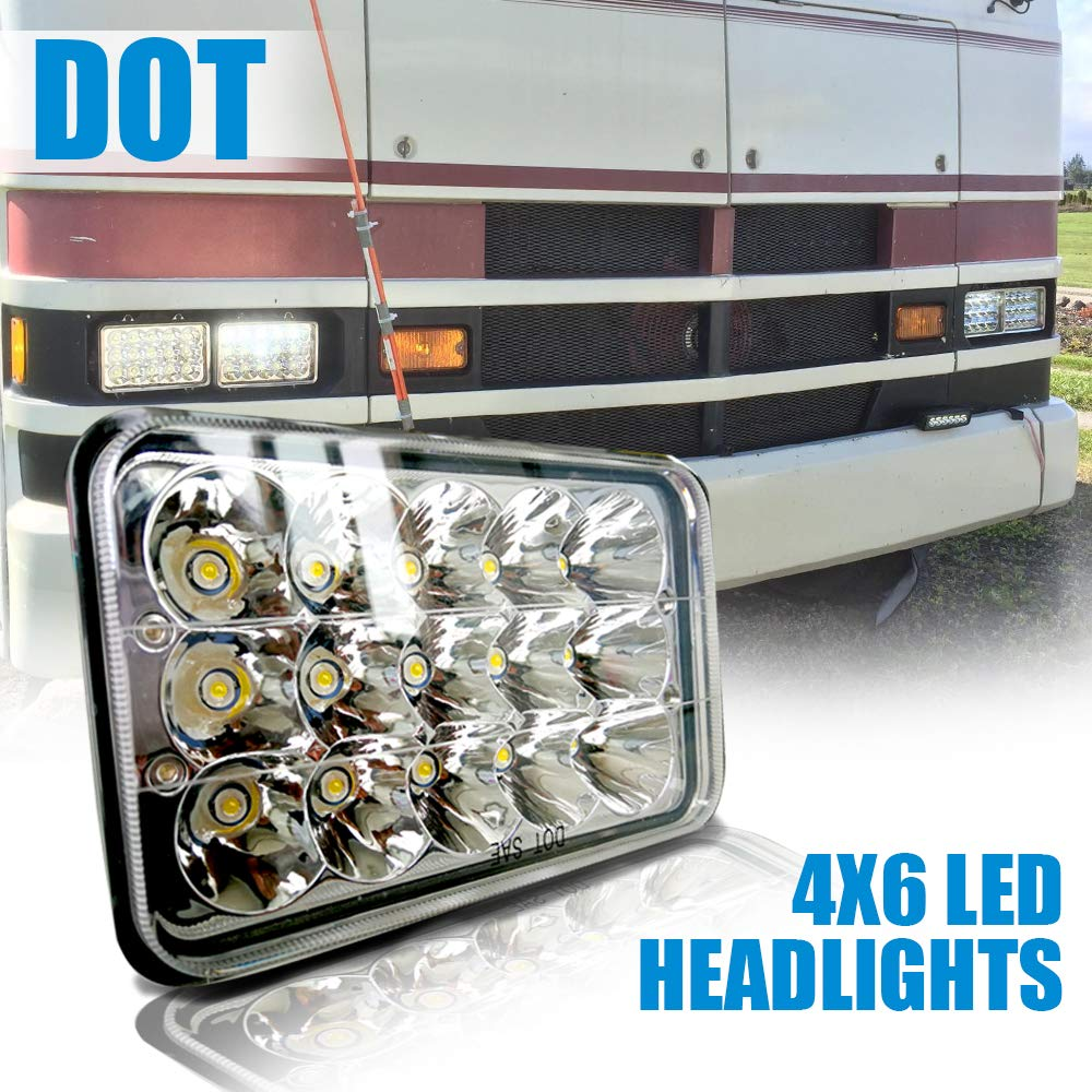 DOT Rectangular 5x7 7x6 LED Headlights Hi/Lo Replace H6054 Hid Halogen Sealed Beam headlamp Jeep Wrangler JK Grand Cherokee XJ YJ JKU 4x4 Toyota Tacoma pickup Ford F250 E350 Chevy Corvette Dodge Ram TERRAIN VISION 4332994108