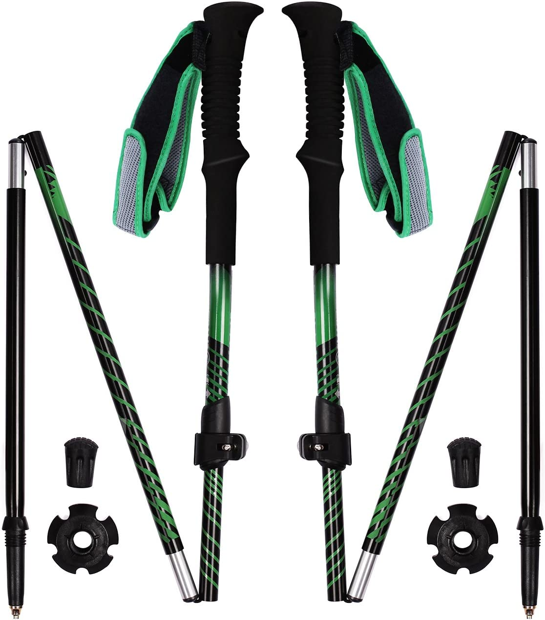 REDCAMP Aluminium Walking Sticks Collapsible,2 Pack 1 Year Warranty,Ultralight Quick Flip Lock Trekking Poles for Hiking