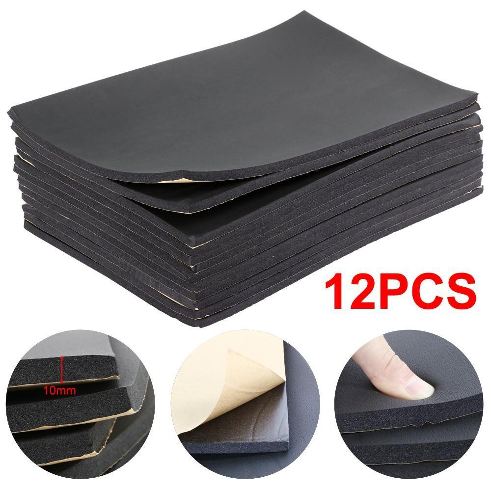 Popamazing Sound Proofing Deadening Vehicle Insulation Closed Cell Foam Sheet with Adhesive Backing 50cm X 30cm (12 Sheets) PO-00081690