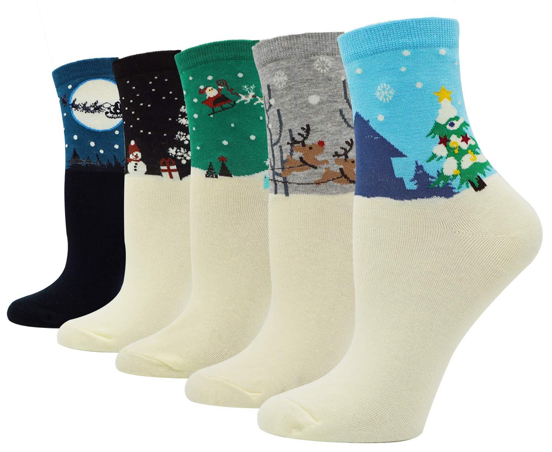 Bienvenu Women's Lady's 5 Pack Snowflake Deer Print Socks, Style 2