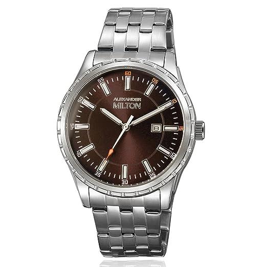 Alexander Milton Reloj de hombre, acero inoxidable - modelo kronos - Plata/Marrón: Amazon.es: Relojes