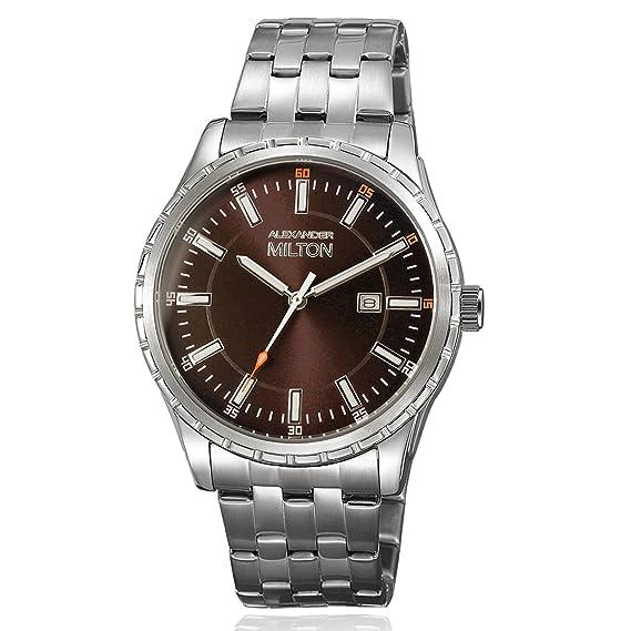 Alexander Milton Reloj de hombre, acero inoxidable – modelo kronos – Plata/Marrón