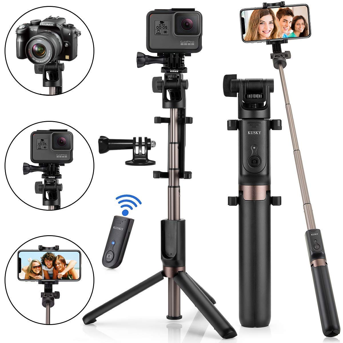 Selfie Stick Bluetooth, 4-in-1 Extendable Selfie Stick Tripod with Wireless Remote Shutter for iPhone X/8/8P/7/7P/6s/6P, Galaxy S9/S9 Plus/S8/S7/ S6/S5/Note 8, Google, Huawei and More by KUSKY