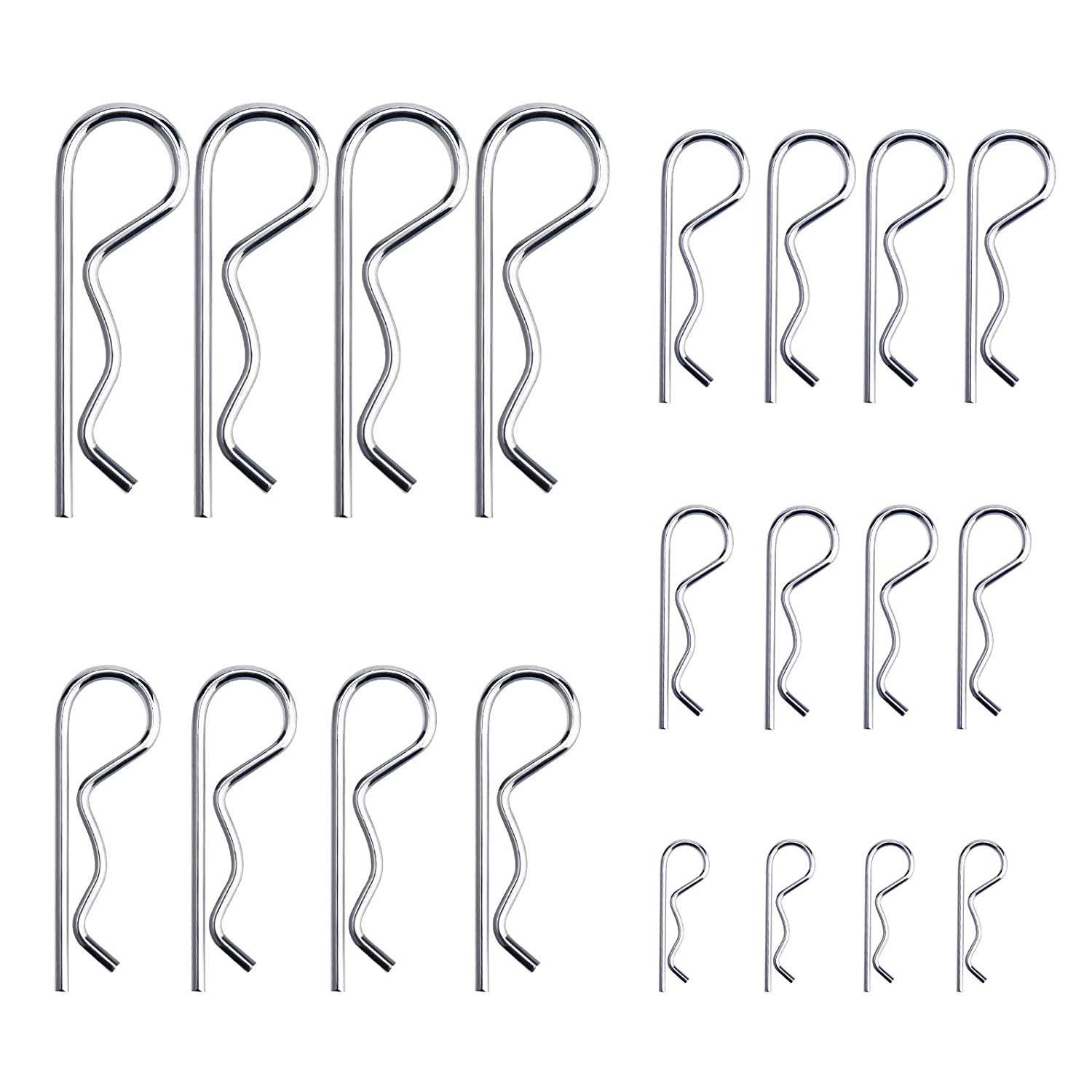 LUTER 20Pcs R Clips Retaining Pins Multiple Sizes M1.2-M3.5 Heavy Duty Zinc Plated Cotter Pin Hairpin Hitch Pin Assortment Kit for Tow Bar Tractors Mower Carts Truck Lock Systems