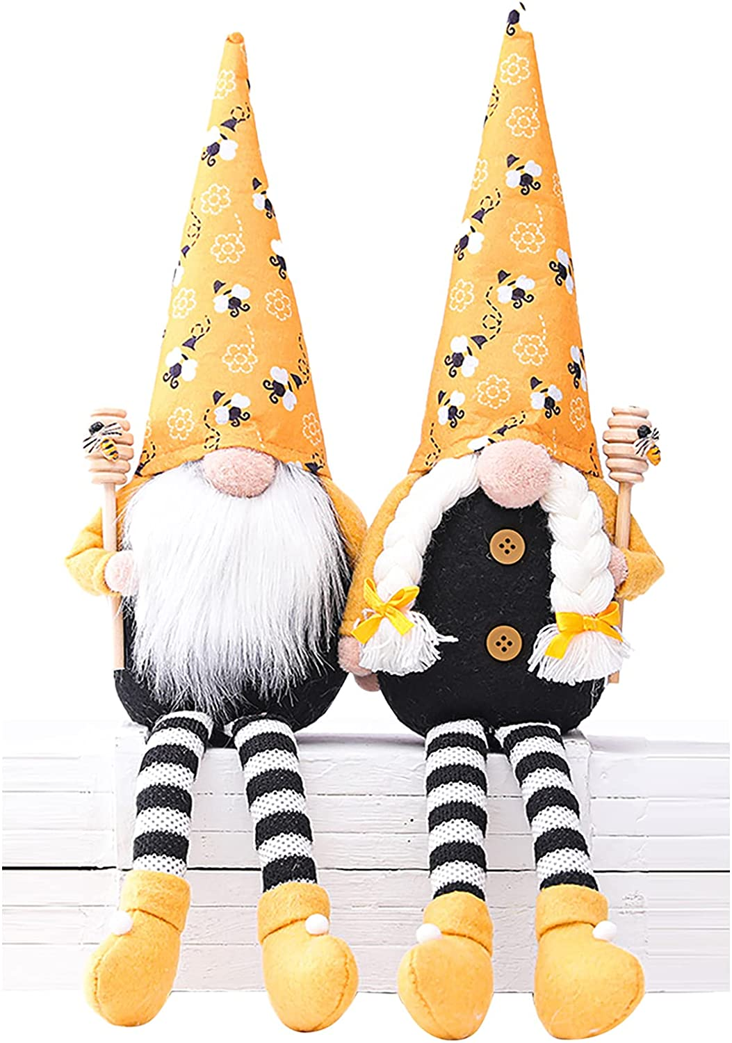 2PCS Bumble Bee Gnome Scandinavian Tomte Nisse Dwarf Swedish Figurines Bee Elf Home Farmhouse Kitchen Decor Bee Party Gift Birthday Present Tiered Tray Decorations (MFCT)