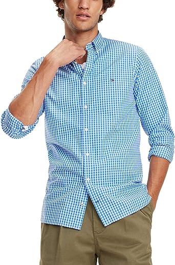 Camisa Tommy Hilfiger Slim Fit Cuadros Azul/Blanco Hombre XL Azul ...