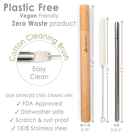 Reusable Metal Stainless Steel Straws: 4 Travel Reusable Straws + 2 Wooden  Cases + 2 Cotton Cleaning Brushes + 1 Pouch, for Hot and Cold Drinks,