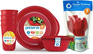 product image for Preserve Reusable BPA Free Everyday Tableware Set with Cutlery Made from Recycled Plastic: 4 Plates, 4 Bowls, 4 Cups and 24 pieces of Cutlery, Pepper Red