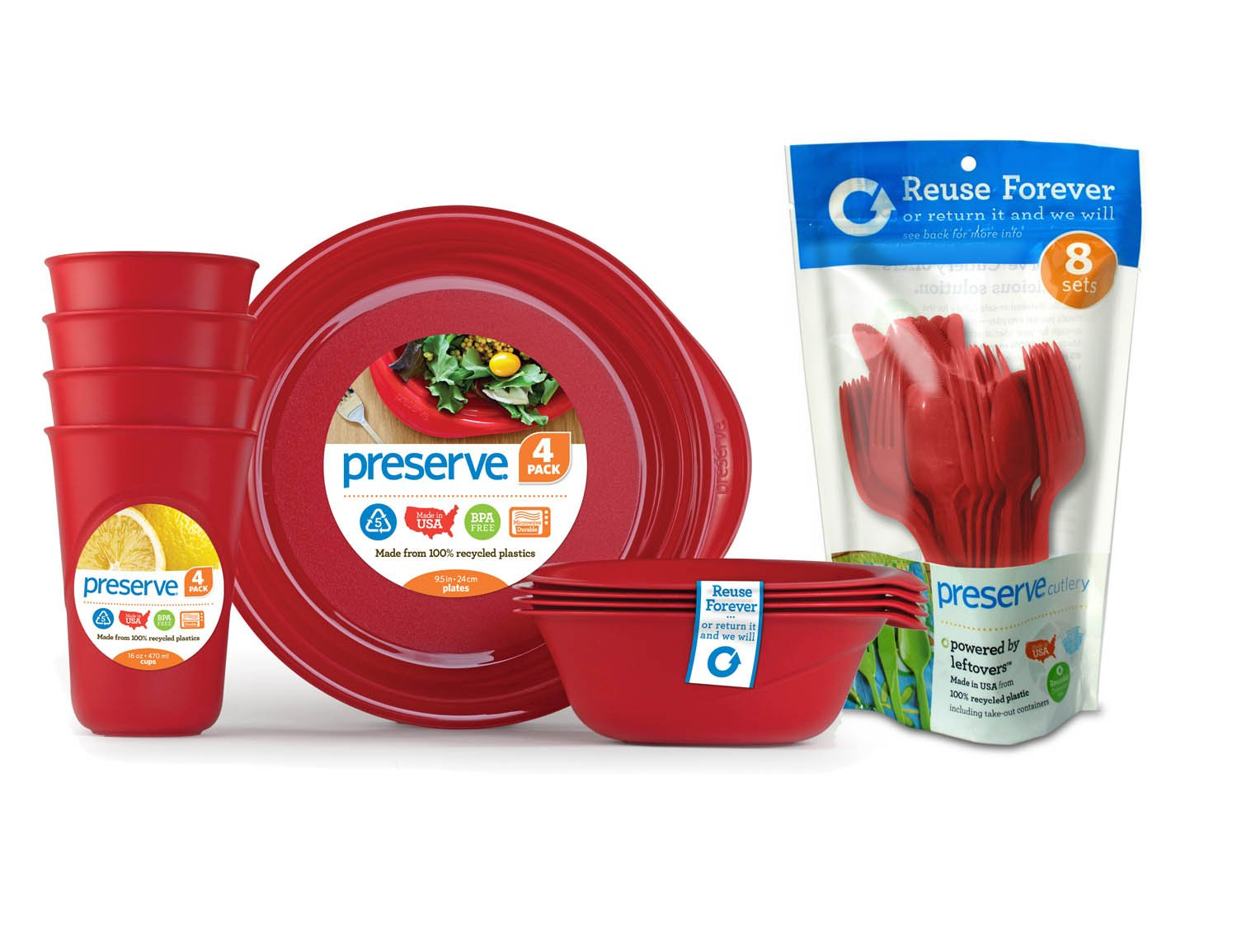 Preserve Everyday Tableware Set with Cutlery, Pepper Red