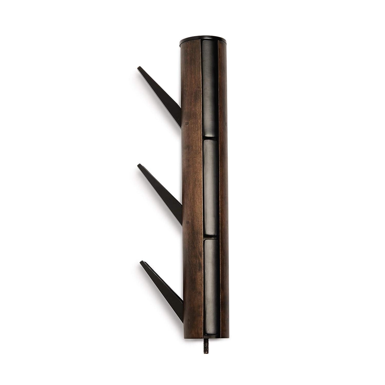 Porte-manteau Flapper sur pied En bois coloris bois naturel avec base et crochets en m/étal laqu/é blanc Dimension 57.2x165cm. UMBRA Flapper