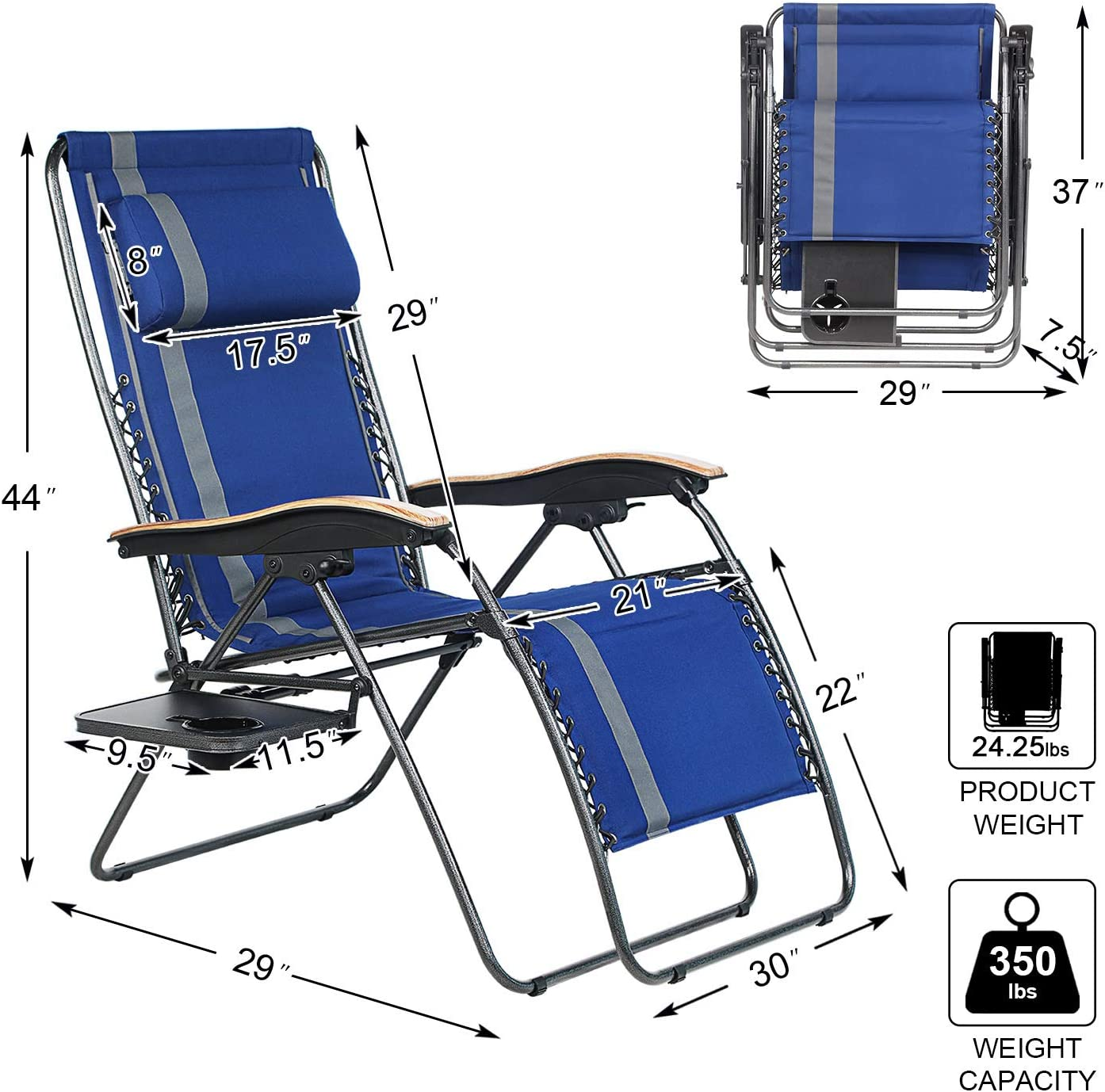 PORTAL Oversized Padded Zero Gravity Chair, XL Seat Adjustable Patio Lounge Recliner Chair with Lumbar Support Pillow and Side Table Support 350lbs: Kitchen & Dining