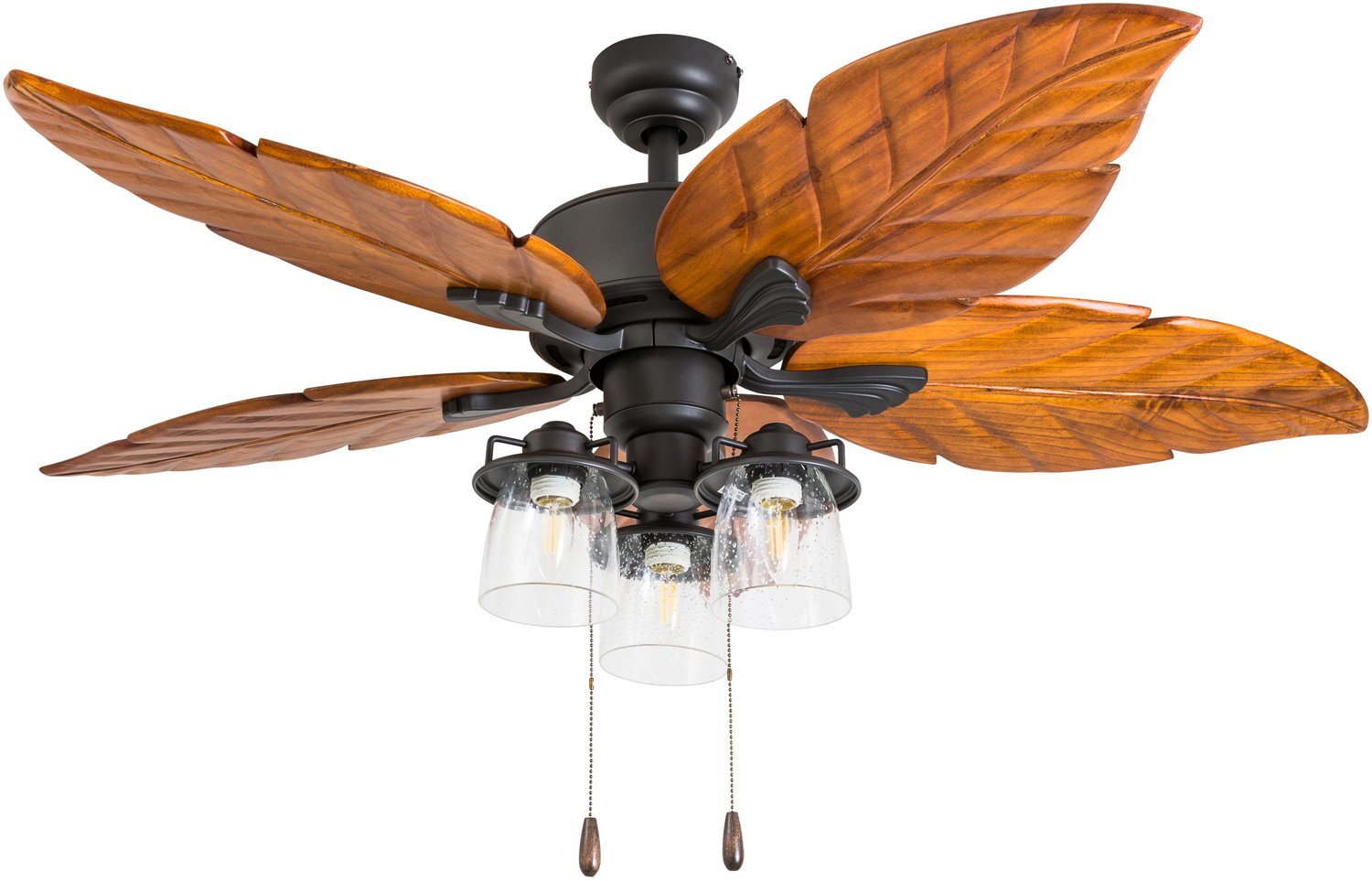 Prominence Home 50677-01 Caspian Sea Tropical Ceiling Fan, 52 , Dark Cherry Hand Carved Wood, Aged Bronze