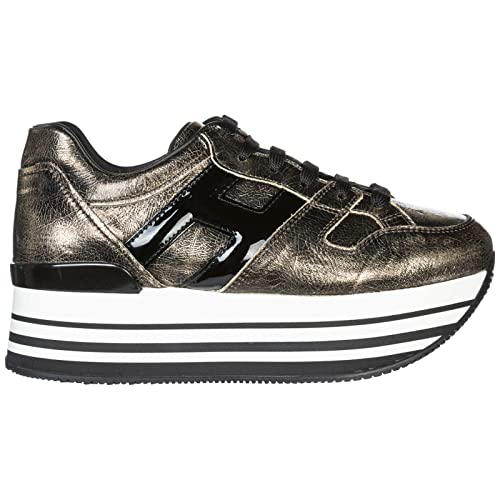 Hogan Sneakers con Zeppa H283 Donna Nero Oro Palladio  Amazon.it  Scarpe e  borse fcfb92617c2
