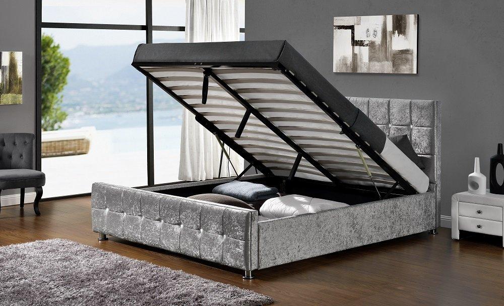 DFM Gleam Bett Premiumqualität Velours Silber 160 x 200 cm: Amazon ...