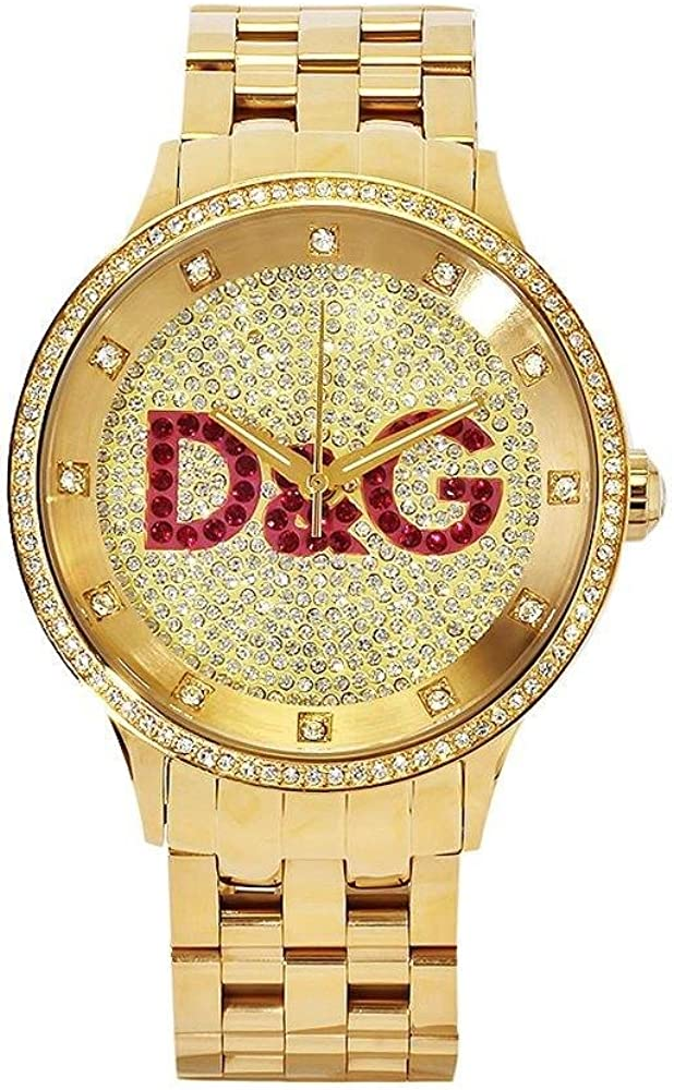 Dolce & Gabbana Time Big IPG Gold DIAL with Red Logo BRC DW0377 - Reloj de Mujer de Cuarzo, Correa de Acero Inoxidable Color Oro