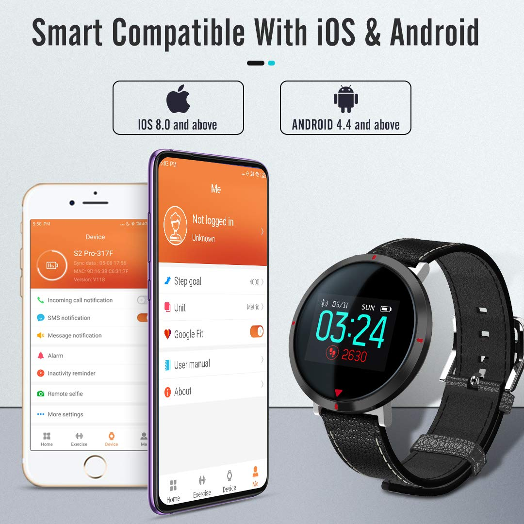 maxtop Smart Watches for Women - Heart Rate Monitor Blood Pressure Sleep Monitor Fitness Tracker Compatible with Android and iOS - Black by maxtop (Image #8)