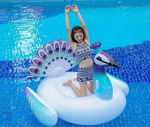 Maison Jardin - Colchoneta de piscina con forma de pavo real, hinchable, 200 x 130 x 170 cm, blanco 01, 150x105x100cm: Amazon.es: Deportes y aire libre