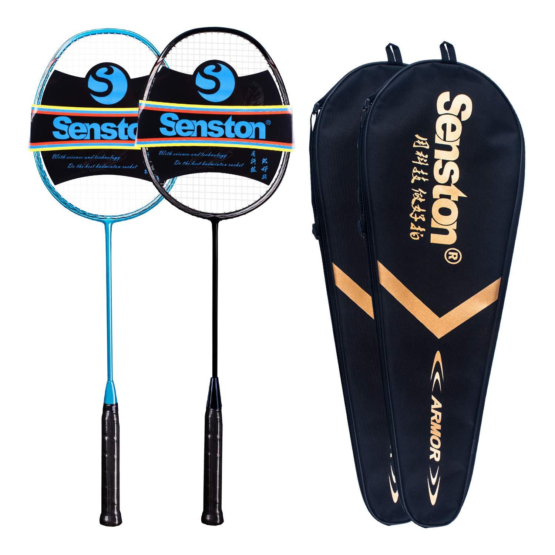 Senston N80 Graphite High-Grade Badminton Racquet,Professional Carbon Fiber Badminton Racket Included Black Blue Color Rackets 2 Carrying Bag