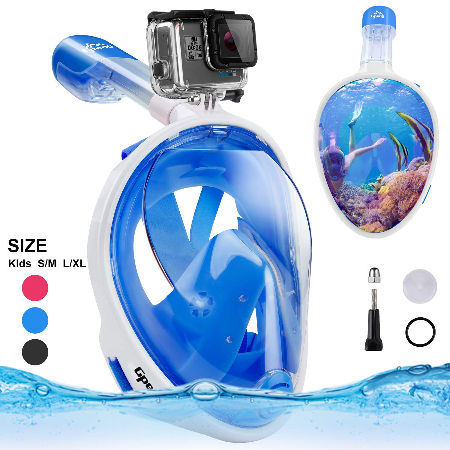 Gpeng Full Face Snorkel Mask-Advanced Safety Breathing System Allows You to Breathe More Fresh Air While Snorkeling,180 Panoramic Anti-Fog Anti-Leak Foldable Snorkel Mask (Blue_White,L/XL) by Gpeng