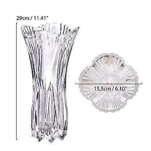 Kurtzy Grande Vaso Fiori Vetro Cristallo Alto 30cm Vasi Rotondi per Fiori- Home Decor Vintage- Diametro 15.5 cm Mazzi Assortiti di Fiori- Vetro Cristallo Trasparente