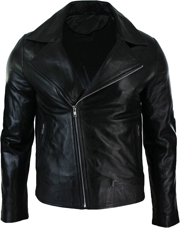 Men Leather Jacket New Soft Lambskin Slim Biker Bomber Coat T1342