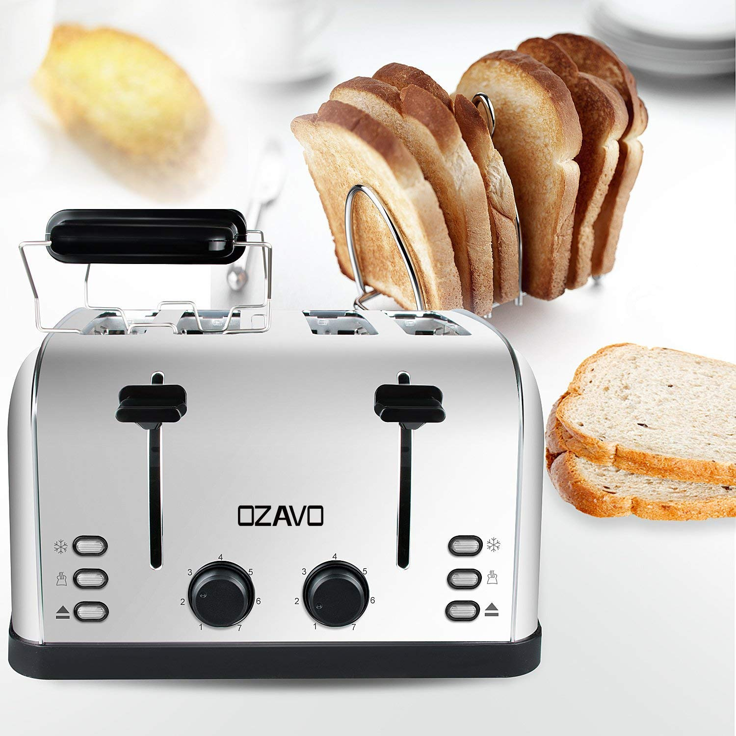 7 Toasting Levels OZAVO Toaster 4 Slices zentri ERFU ktion with Removable Crumb Tray Stainless Steel case Sandwich Heaters 1500 W
