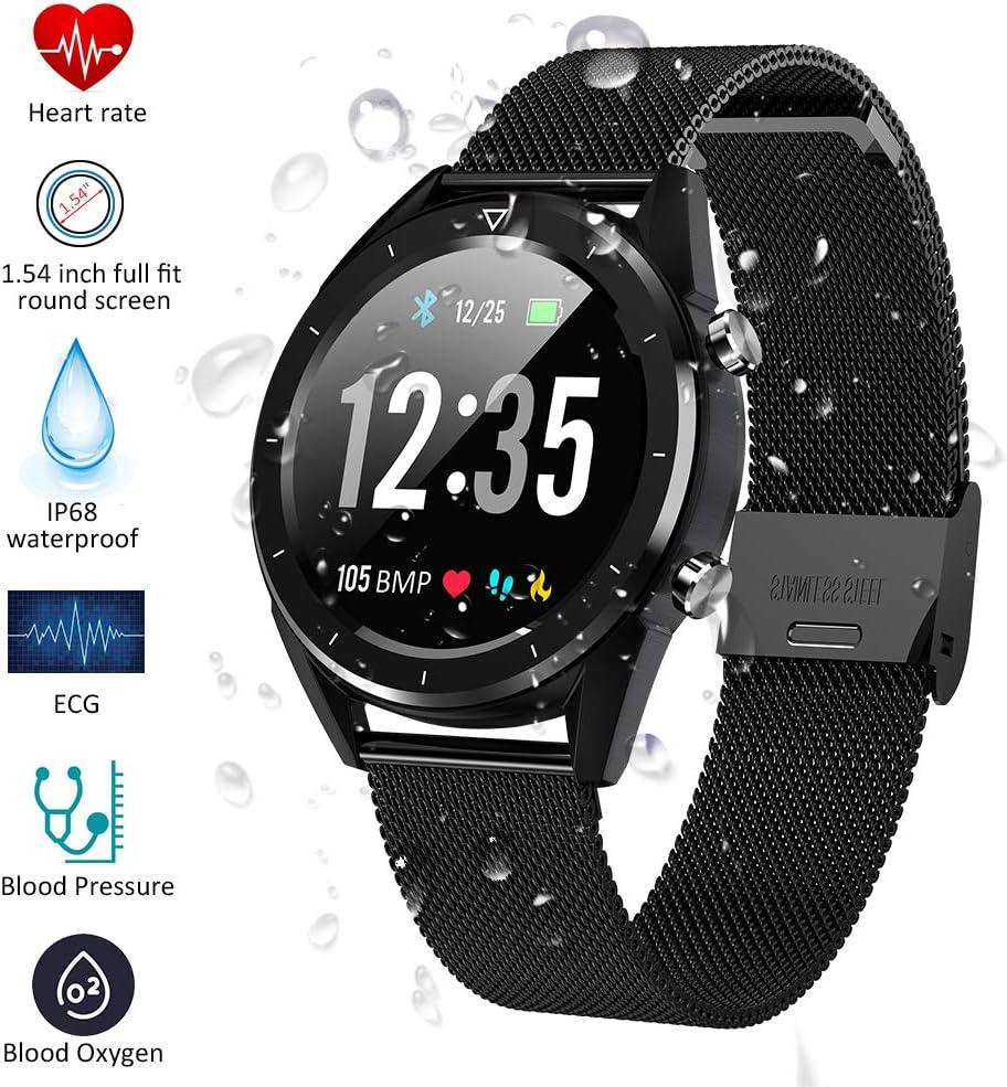 Padgene Smartwatch, Reloj Inteligente Bluetooth SmartWatch Pantalla táctil con Múltiples Modos de Deportes, Monitor de sueño, Podómetro, Notificación de Llamada y Mensaje para Android e iOS (Negro)