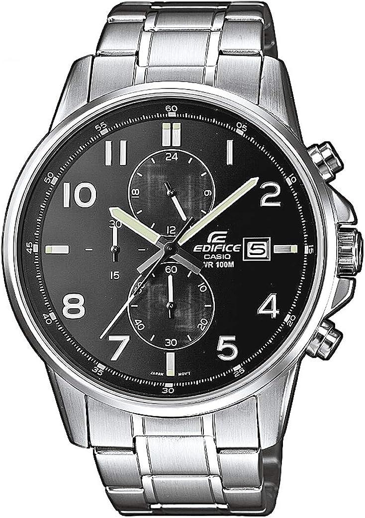 Casio EDIFICE Reloj en caja sólida, 10 BAR, Negro, para Hombre, con Correa de Acero inoxidable, EFR-505D-1AVEF