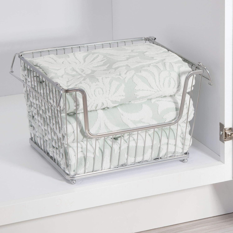 Bedrooms Bathrooms Pantry Large Open Front for Kitchen Cabinets Closets mDesign Modern Stackable Metal Storage Organizer Bin Basket with Handles Bronze MetroDecor 6864MDKEU 3 Pack