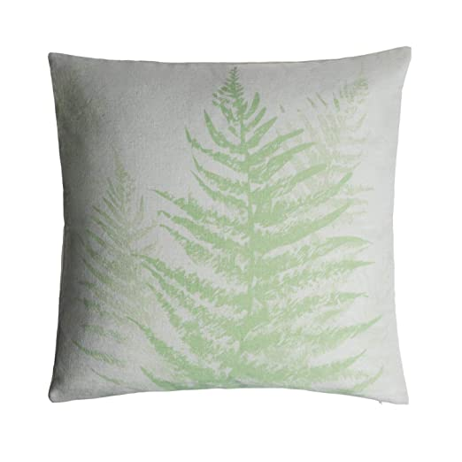 Black Velvet Studio Funda cojín Tropic 100% algodón, Color Beige y Verde Claro. Elegante Estampado Tropical 45x45 cm.
