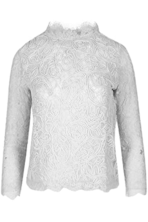 05ebe9d5a2 Fashion Star Womens Ladies Polo High Neck Full Floral Crochet Lace Back Zip  Long Sleeve Top  Amazon.co.uk  Clothing