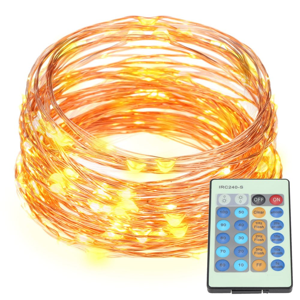 32.8ft Copper Wire LED Starry Lights 100LED String Lights with Power Adapter & Remote Controller Docooler