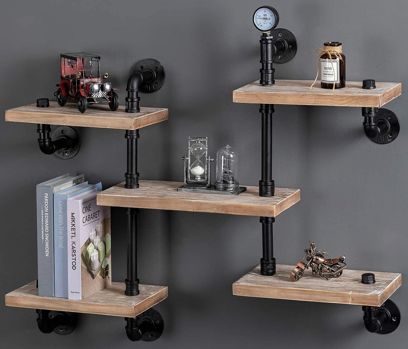 Industrial Floating Pipe Wall Mounted Shelves Rustic Modern Wood Shelving Bookcase 4 Layer Ladder Steampunk Hanging Bookshelf for Home Bathroom Office Decor (5-Tier Ladder Shelves)