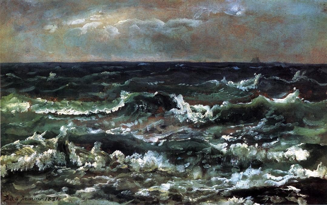 Johan Christian Claussen Dahl Waves and Breakers in the Bay of Naples - 24'' x 36'' 100% Hand Painted Oil Painting Reproduction by Art Oyster