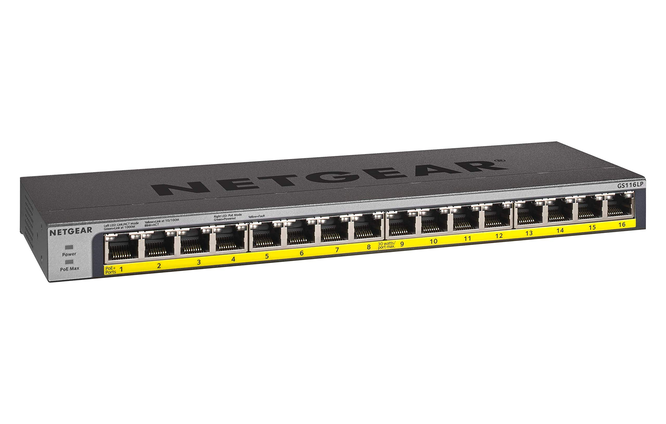 NETGEAR 16-Port Gigabit Ethernet Unmanaged PoE Switch (GS116LP) - with 16 x PoE+ @ 76W Upgradeable, Desktop/Rackmount, and ProSAFE Limited Lifetime Protection by NETGEAR